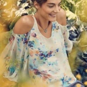 Anthropologie | Watercolor Cold Shoulder Silk Top